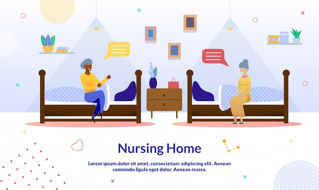 Vrouwelijke vriendschap en verpleeghuis cartoon poster
