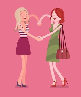 Vrouwelijke vriendschap hand hartgebaar
