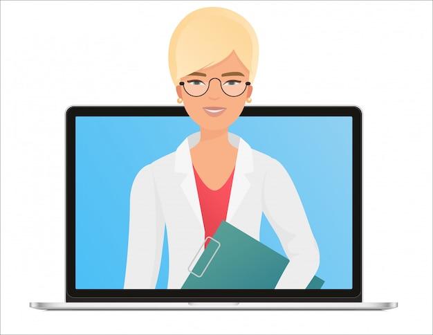 Vrouwelijke vrouw arts met online medisch overlegconcept, de gezondheidszorgdiensten. vraag een arts online via een laptopcomputer
