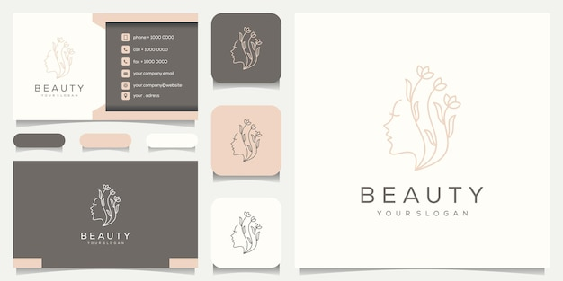 Vrouwelijke vrouw gezicht aard met lijn art stijl logo en bloem, visitekaartje ontwerp.
