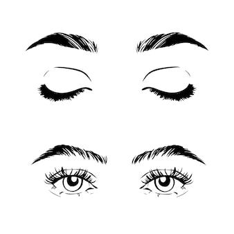 Vrouwelijke vrouw ogen en wenkbrauwen beeldcollectie set.