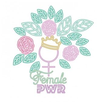 Vrouwelijke vrouwelijke het symboolpictogrammen van het machtsetiket