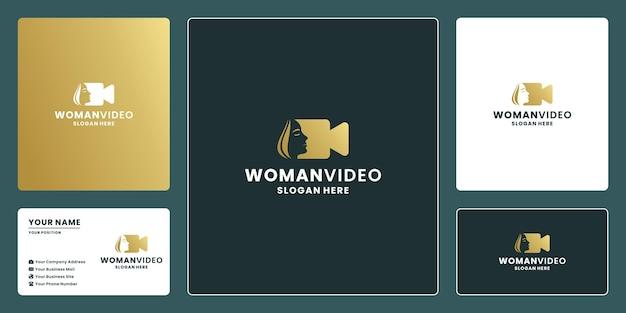 Vrouwelijke vrouwenvideo, filmlogo-ontwerp voor redacteur en productiebedrijf