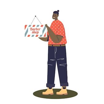 Vrouwelijke werknemer van de uithangbordillustratie van de herenkapperholding