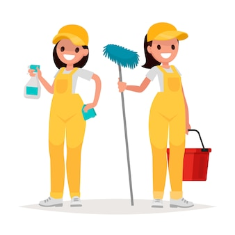 Vrouwelijke werknemers van schoonmaakbedrijf op een witte achtergrond. vectorillustratie in een vlakke stijl