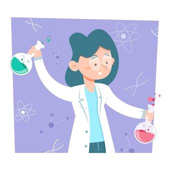Vrouwelijke wetenschapper die chemische drankjes mengt
