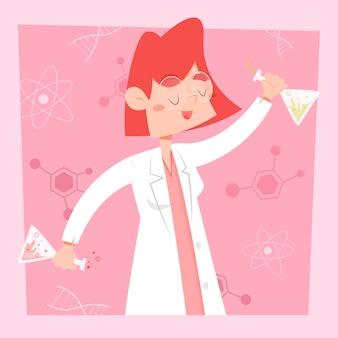 Vrouwelijke wetenschapper die gelukkig in haar laboratorium is