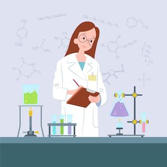 Vrouwelijke wetenschapper die in het laboratorium werkt