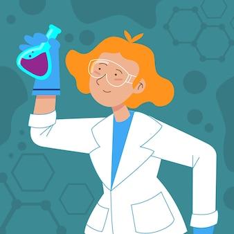 Vrouwelijke wetenschapper die in laboratoriumjas elixer houdt