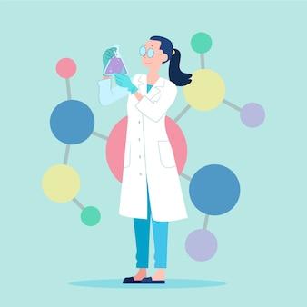 Vrouwelijke wetenschapper die met een oplossing werkt