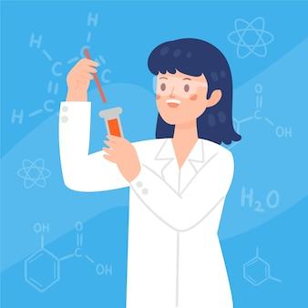 Vrouwelijke wetenschapper die met glazen een buis houdt