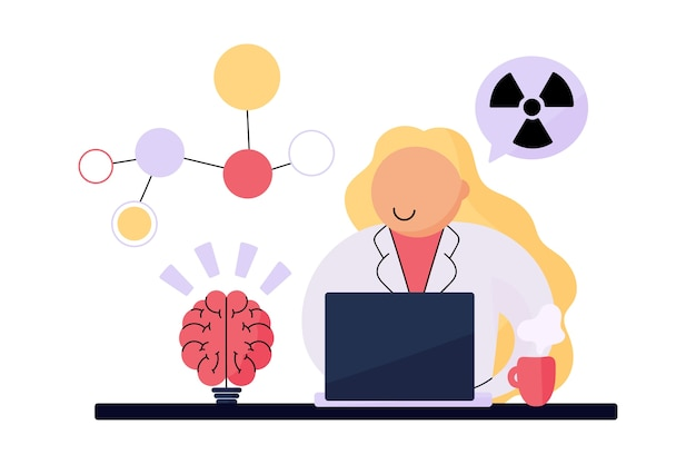 Vrouwelijke wetenschapper die werkt met radioactieve chemicaliën