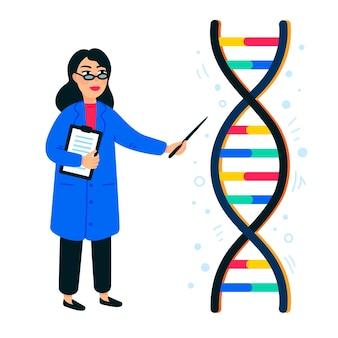 Vrouwelijke wetenschapper en helix van dna