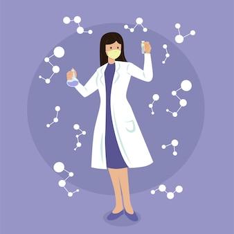 Vrouwelijke wetenschapper geïllustreerde karakter