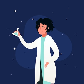 Vrouwelijke wetenschapper illustratie concept