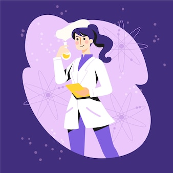Vrouwelijke wetenschapper illustratie karakter