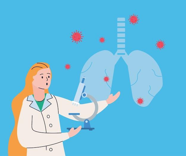 Vrouwelijke wetenschapper met longen en covid19 deeltjesonderzoeksvaccin