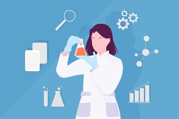 Vrouwelijke wetenschapperillustratie