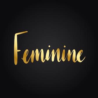 Vrouwelijke word typografie stijl vector