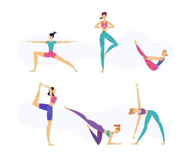 Vrouwelijke yoga gezonde levensstijl concept met vrouwen tekens in verschillende houdingen van yoga