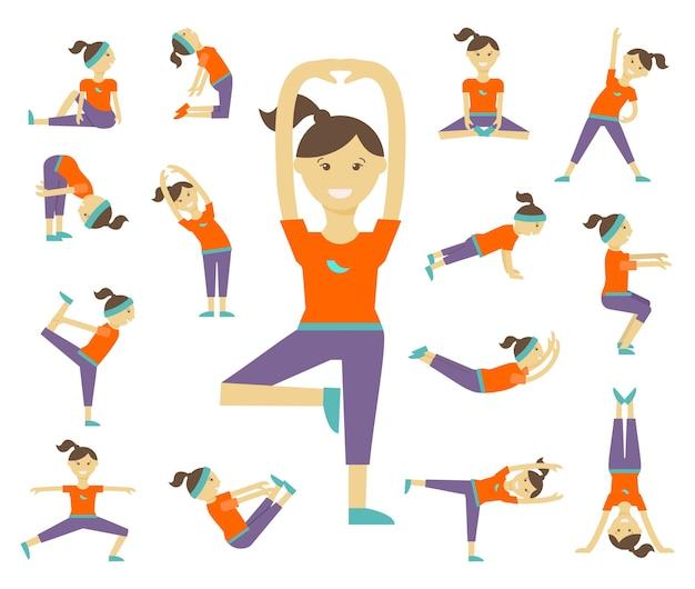 Vrouwelijke yoga houdingen. meisje en lichaamsbeweging, gezondheidslevensstijl, evenwichtspositie, lichaamsvrouw,