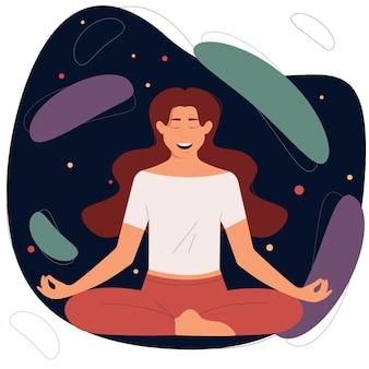 Vrouwelijke yogapraktijkmeditatielichaamspositieve en gezonde levensstijlconcept van harmonie en bewustzijn