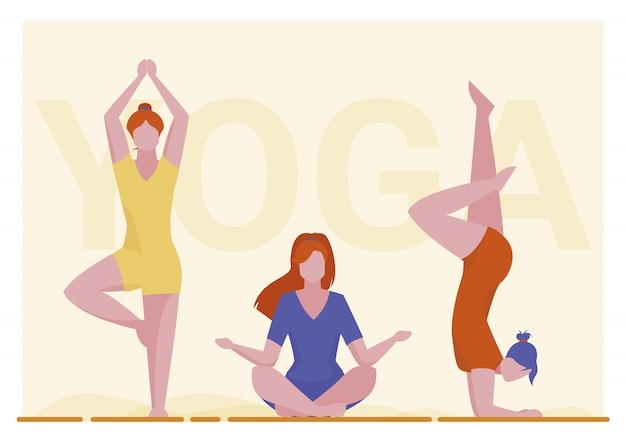 Vrouwelijke yogi-groep Gratis Vector