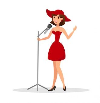 Vrouwelijke zangeres uitvoeren platte vectorillustratie
