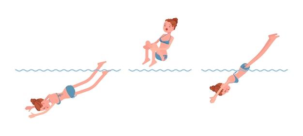 Vrouwelijke zwemmer die in waterreeks springt
