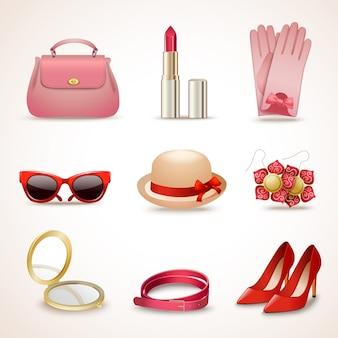 Vrouwen accessoires icon set