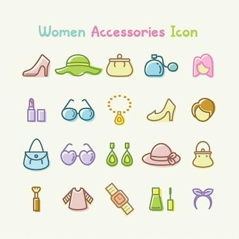 Vrouwen accessoires pictogrammenset vectorillustratie