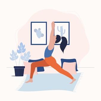 Vrouwen blijven in yoga pose en mediteren. vrouw doet yoga thuis.