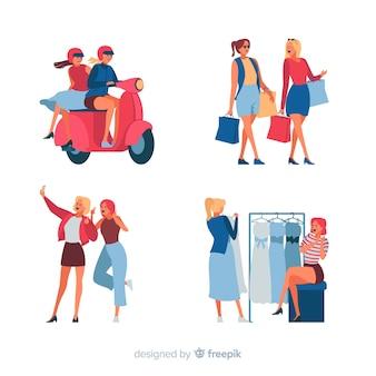 Vrouwen brengen tijd door met verschillende activiteiten