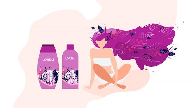 Vrouwen cosmetica producten advertentie platte vector banner