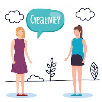 Vrouwen creatief met tekstballon in landschap