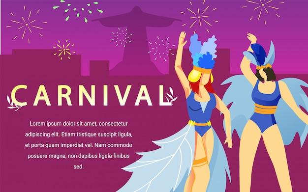 Vrouwen dansen in carnaval jurken op roze achtergrond