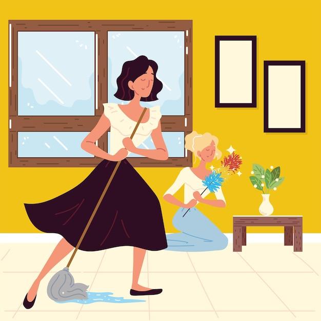 Vrouwen die aan het schoonmaken zijn