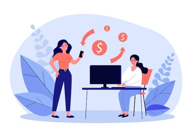 Vrouwen die digitale apparaten gebruiken om geld over te maken