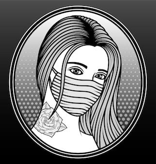 Vrouwen die een ontwerp van de maskerhand getrokken illustratie dragen