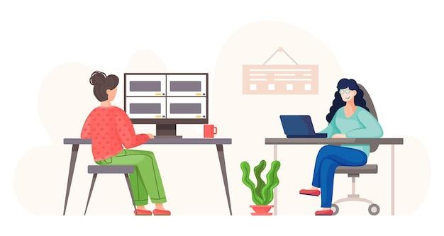 Vrouwen die een videogesprek voeren met collega's