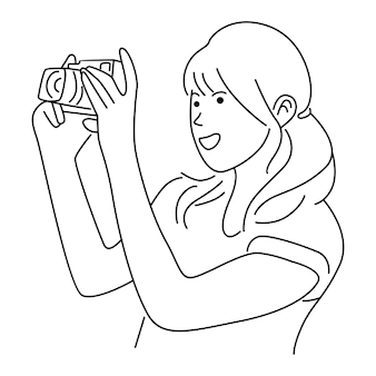 Vrouwen die foto's maken met een digitale camera