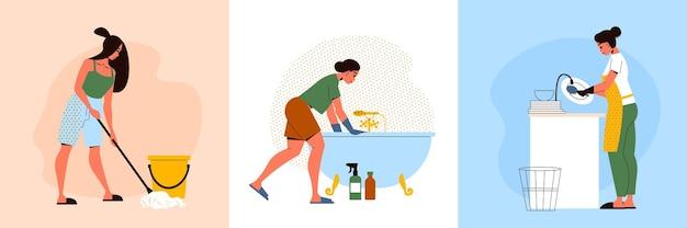 Vrouwen die huishoudelijk werk doen