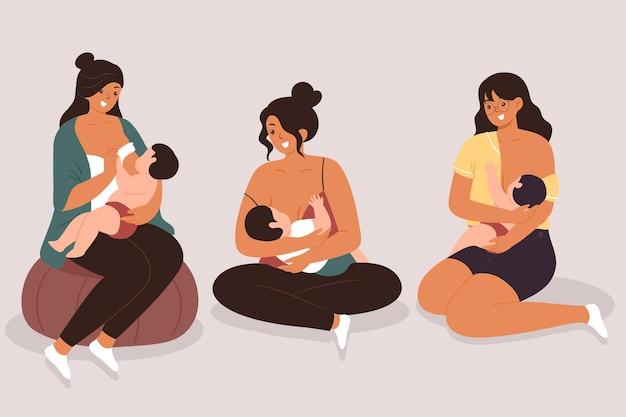 Vrouwen die hun baby's borstvoeding geven