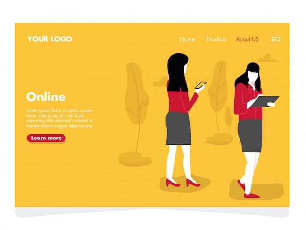 Vrouwen die illustratie voor landingspagina babbelen