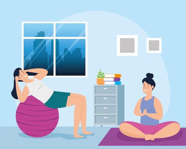 Vrouwen die in het vectorillustratieontwerp van de huisscène uitoefenen
