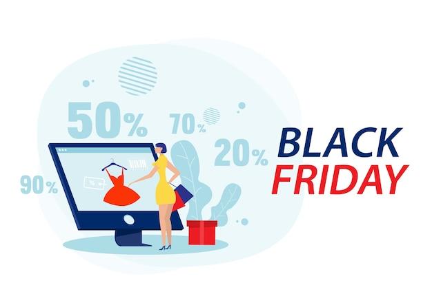 Vrouwen die kleding en tassen winkelen. grote korting, zwarte vrijdag op laptop plat