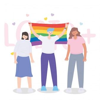Vrouwen die lgbtq-rechten vieren