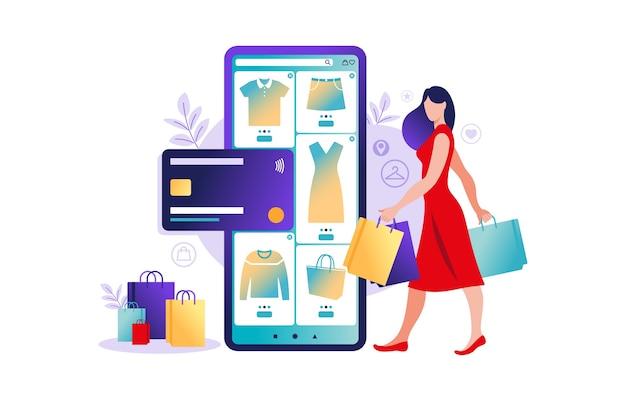 Vrouwen die online op mobiele telefoon winkelen. mobiele app-sjablonen, illustratie. retail plat ontwerp. betaling in de online winkel. bank creditcards. smartphone-portefeuilles, digitale betaaltechnologie. e-betalen.