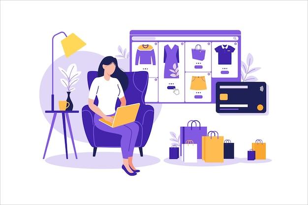 Vrouwen die online op mobiele telefoon winkelen. mobiele app-sjablonen,. retail plat ontwerp. betaling in de online winkel. bank creditcards. smartphone-portefeuilles, digitale betaaltechnologie. e-betalen.