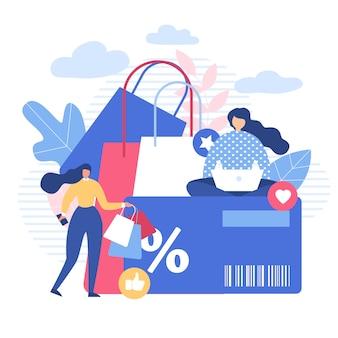 Vrouwen die online winkelen met korting gebruiken gadgets